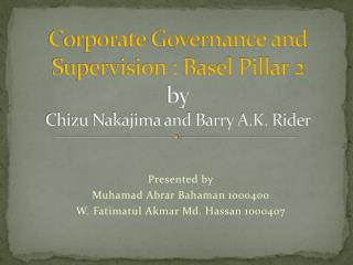 Corporate Governance and Supervision : Basel Pillar 2 by Chizu Nakajima and Barry A.K. Rider