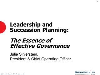 Leadership and Succession Planning: The Essence of Effective Governance