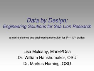Data by Design:  Engineering Solutions for Sea Lion Research