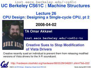 TA Omar Akkawi inst.eecs.berkeley/~cs61c-to