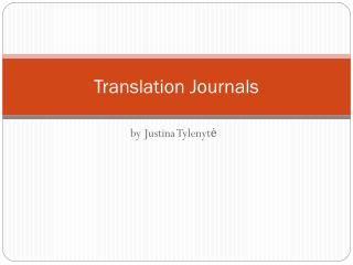 Translation Journals