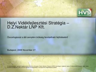 Helyi Vidékfejlesztési Stratégia – D.Z.Nektár LNP Kft.