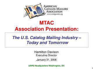 The U.S. Catalog Mailing Industry    Today and Tomorrow