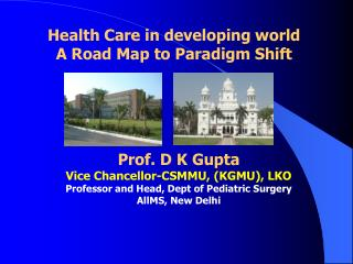 Prof. D K Gupta Vice Chancellor-CSMMU, (KGMU), LKO  Professor and Head, Dept of Pediatric Surgery