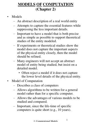 MODELS OF COMPUTATION (Chapter 2)