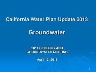California Water Plan Update 2013 Groundwater
