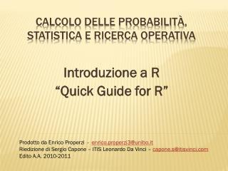 calcolo delle probabilità, STATISTICA e ricerca operativa