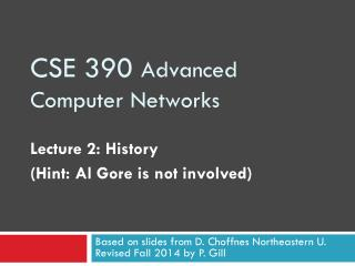 CSE 390  Advanced Computer Networks