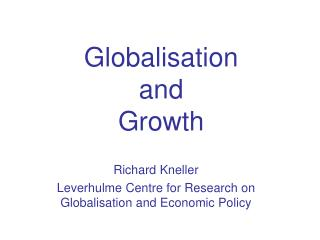 Globalisation  and  Growth