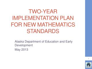Two-year Implementation Plan for new Mathematics standards