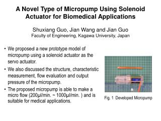 A Novel Type of Micropump Using Solenoid  Actuator  for Biomedical Applications