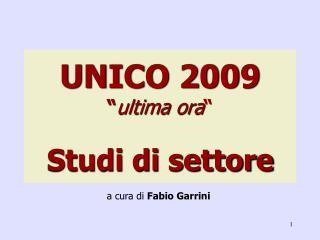 UNICO 2009 � ultima ora � Studi di settore