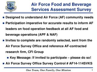 Air Force Food and Beverage Services Assessment Survey