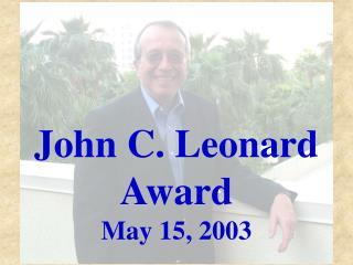 John C. Leonard Award
