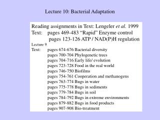 Lecture 10: Bacterial Adaptation