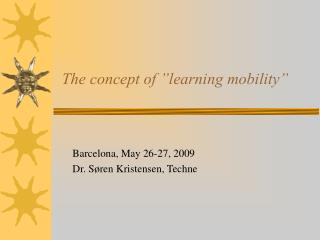 """The concept of """"learning mobility"""""""