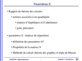 Rappels de théorie des circuits   notions associées à un quadripole