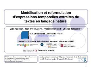 Modélisation et reformulation d'expressions temporelles extraites de textes en langage naturel