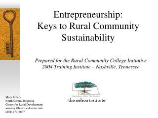 Entrepreneurship: Keys to Rural Community Sustainability
