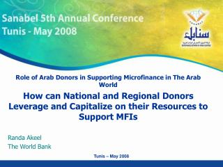 Role of Arab Donors in Supporting Microfinance in The Arab World