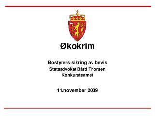 kokrim  Bostyrers sikring av bevis Statsadvokat B rd Thorsen Konkursteamet  11.november 2009