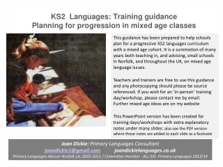 KS2  Languages: Training guidance Planning for progression in mixed age classes
