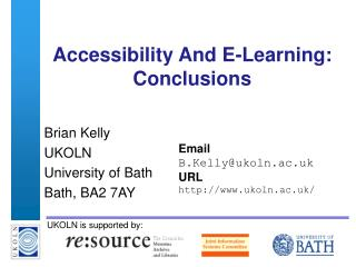 Accessibility And E-Learning: Conclusions