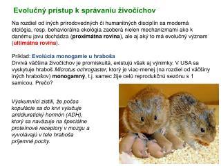 Evolučný prístup k správaniu živočíchov
