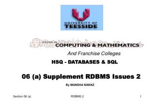 06 (a) Supplement RDBMS Issues 2