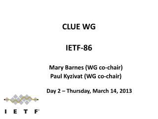 CLUE WG IETF -86
