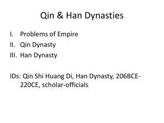 Qin & Han Dynasties