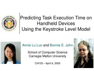 Predicting Task Execution Time on Handheld Devices  Using the Keystroke Level Model