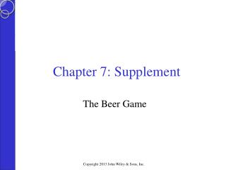 Chapter 7: Supplement