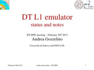 DT L1 emulator status and notes