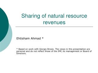 Sharing of natural resource revenues