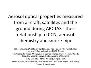 Aerosol optical properties measured from aircraft, satellites and the ground during ARCTAS - their relationship to CCN,