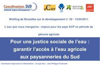 Commission Agriculture & Alimentation – Groupe Eau – Jean-Philippe Fontenelle
