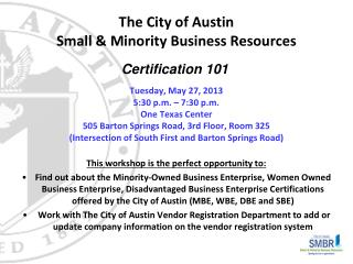 The City of Austin Small & Minority Business Resources