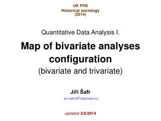 Map of bivariate analyses configuration   (bivariate and trivariate)