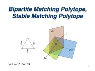 Bipartite Matching Polytope,  Stable Matching Polytope