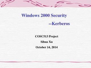 Windows 2000 Security --Kerberos