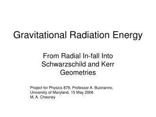 Gravitational Radiation Energy