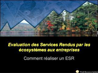 Evaluation des Services  Rendus  par les  écosystèmes  aux  entreprises Comment  réaliser  un ESR