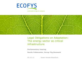 Legal Obligations on Adaptation: The energy sector as critical infrastructure
