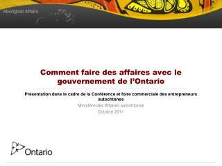 Comment faire des affaires avec le gouvernement de l'Ontario