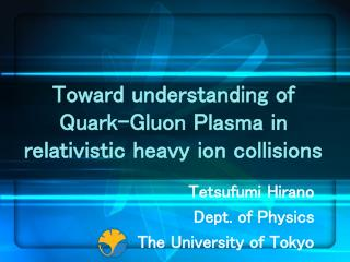Toward understanding of Quark-Gluon Plasma in relativistic heavy ion collisions