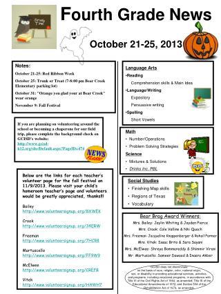 F ourth  Grade  News October 21-25, 2013