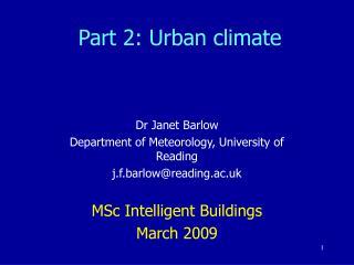 Part 2: Urban climate