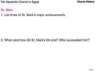 The Apostolic Church in Egypt