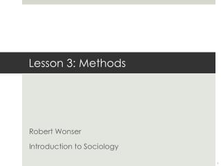 Lesson 3: Methods